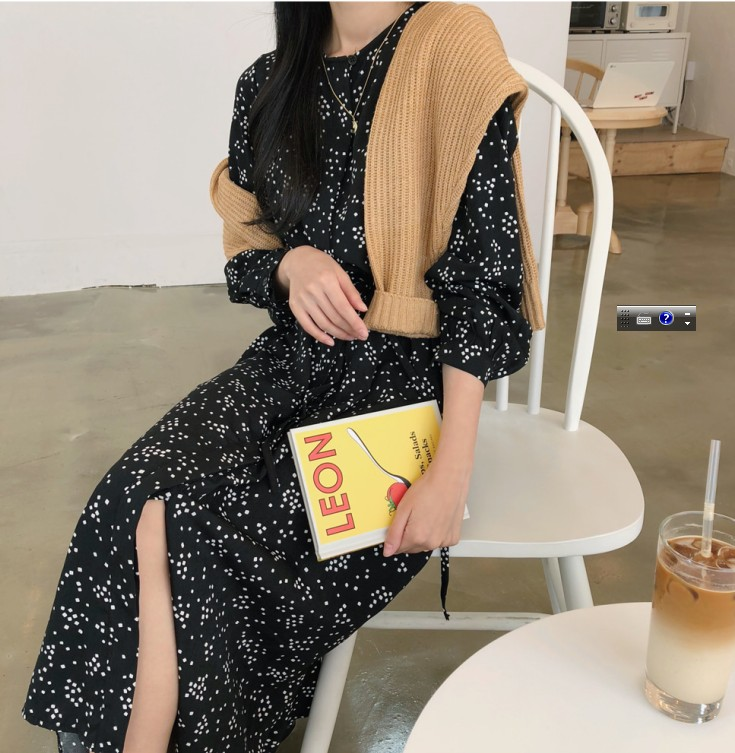 Vestidos Autumn Women Vintage Printed Dress Long Sleeve O Neck Black Dot Casual Chiffon Dress Elastic Waist A-line Long Dress