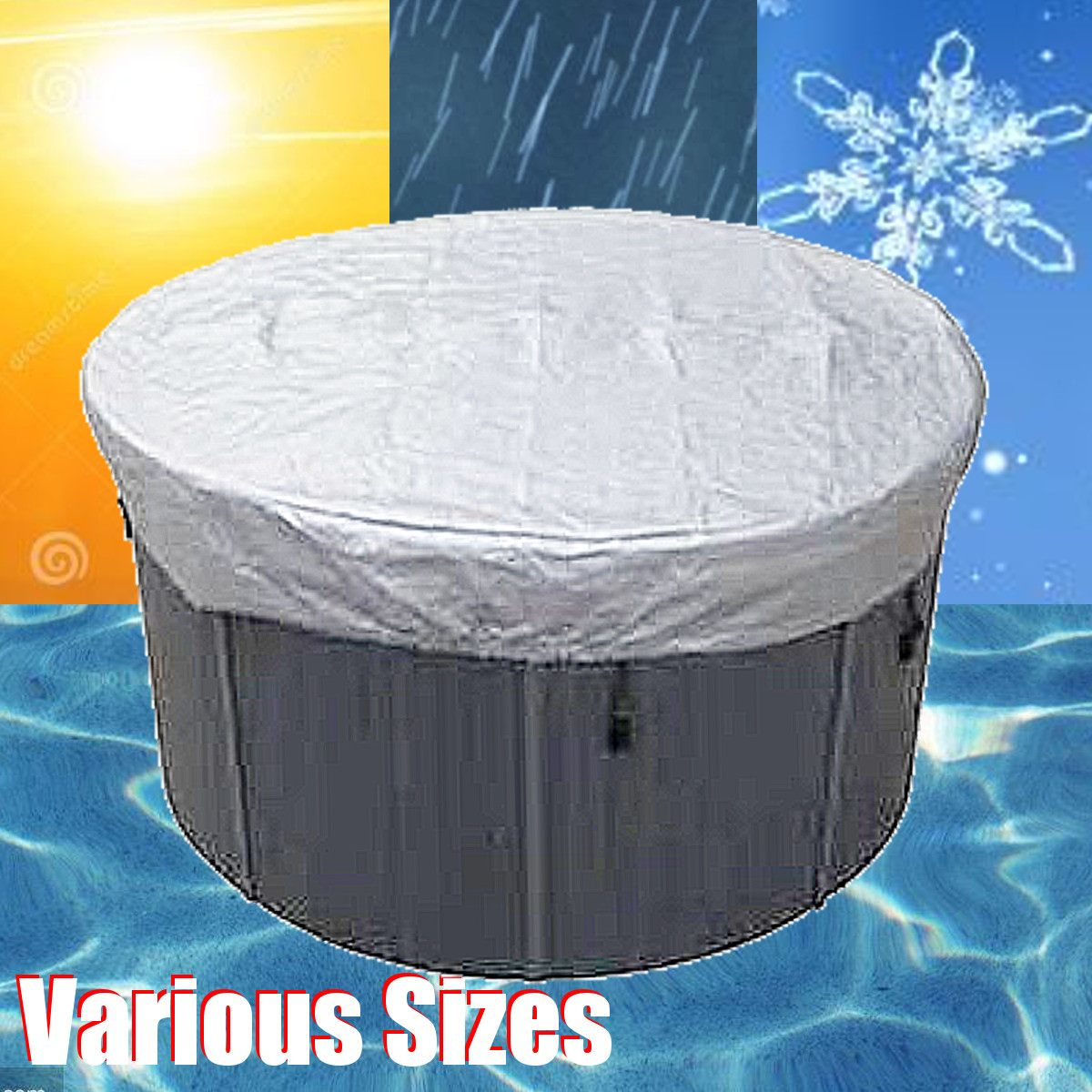 13 Sizes Universal Round Tub Cover Spa Cap Cover Waterproof Dust Proof UV Proof Cover Protector Jacuzzis Hotspring Spa Cubrir
