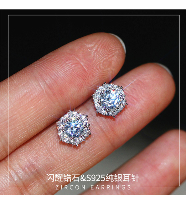 Austrian S925 silver earrings female temperament micro-inlaid diamonds earrings hypoallergenic fashion super flash earrings