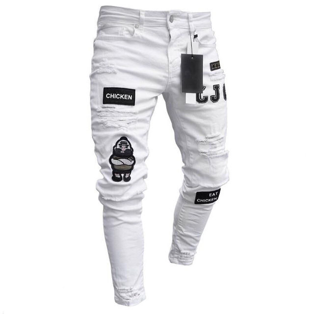 Men Stretchy Ripped Skinny Biker Embroidery Print Jeans  2