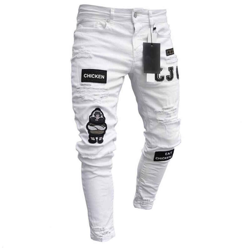 3 stili uomo Jeans elasticizzati strappati Skinny con stampa ricamata per motociclisti Jeans con foro danneggiato nastrato Slim Fit Denim graffiato Jean di alta qualità