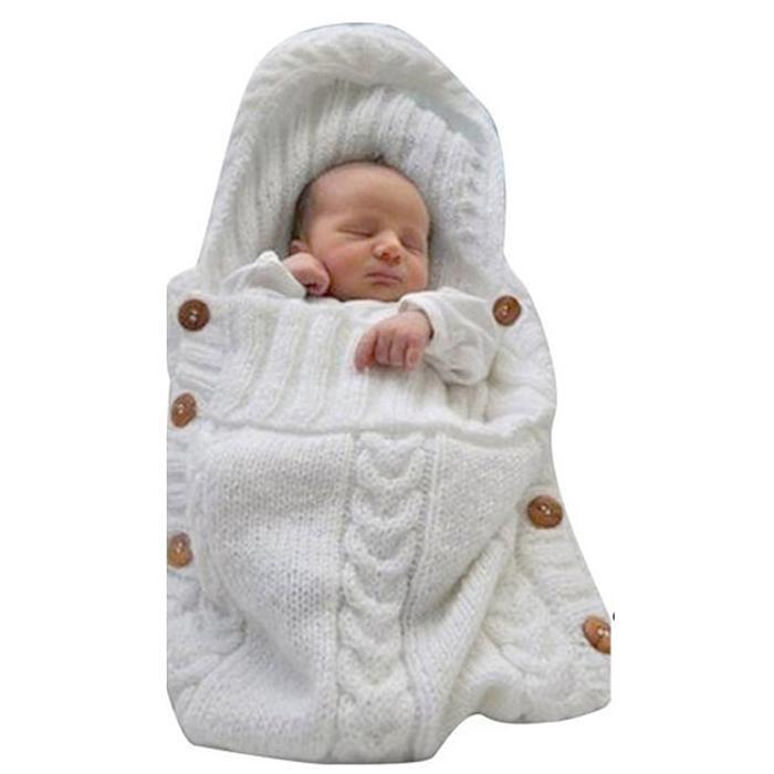 Baby Knit Cotton Woolen Blanket Swaddle Wrap Envelope For Newborn Girls Boys Winter Sweater Sleeping Bag Sack