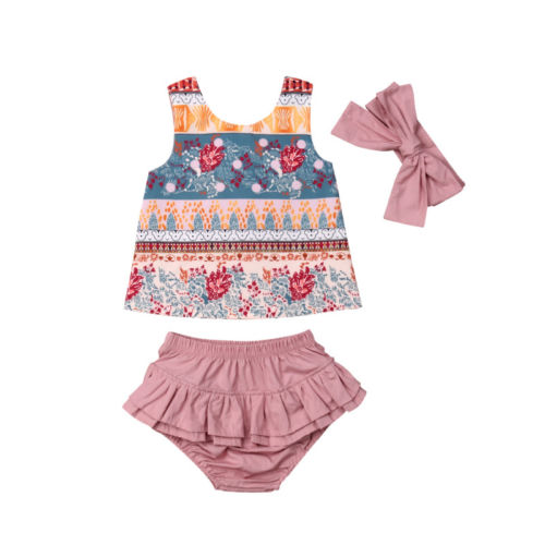 3d1fe431950 Aliexpress.com   Buy 3Pcs Newborn Baby Girl Clothes Floral Top Vest Shorts  Ruffles Headband Cute Outfits Clothing Summer Baby Girls 0 24M from  Reliable ...