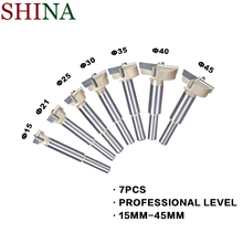 цена на 7PCS 15mm-45mm Forstner Tips Woodworking Tools Hole Saw Cutter Hinge Boring Drill Bits Set Round Shank Tungsten Carbide Cutter