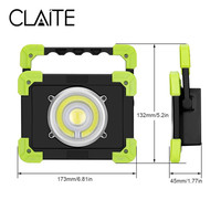 CLAITE 20W Portable Camping Lights 22leds 1500LM LED COB Work Lamp USB Rechargeable 6000Mah Waterproof Floodlight For Outdoor