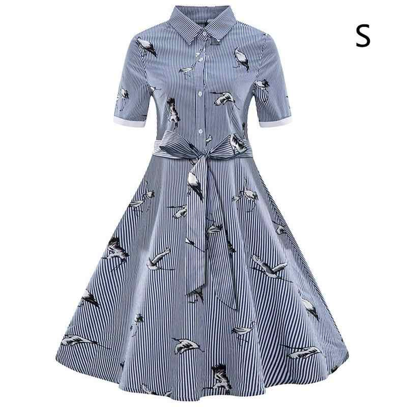 2019 Summer Plus Size 3XL Women Striped Print Dress Fashion Elegant Party Office Lady Simple Dress High Waist Lacing Slim Dress