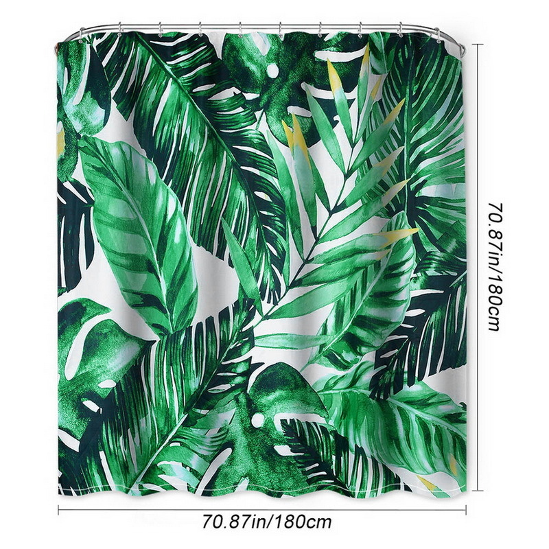 Urijk Summer Tropical Plants Shower Curtain Bathroom Waterproof Polyester Shower Curtain Leaves Printing Curtains For Bathroom