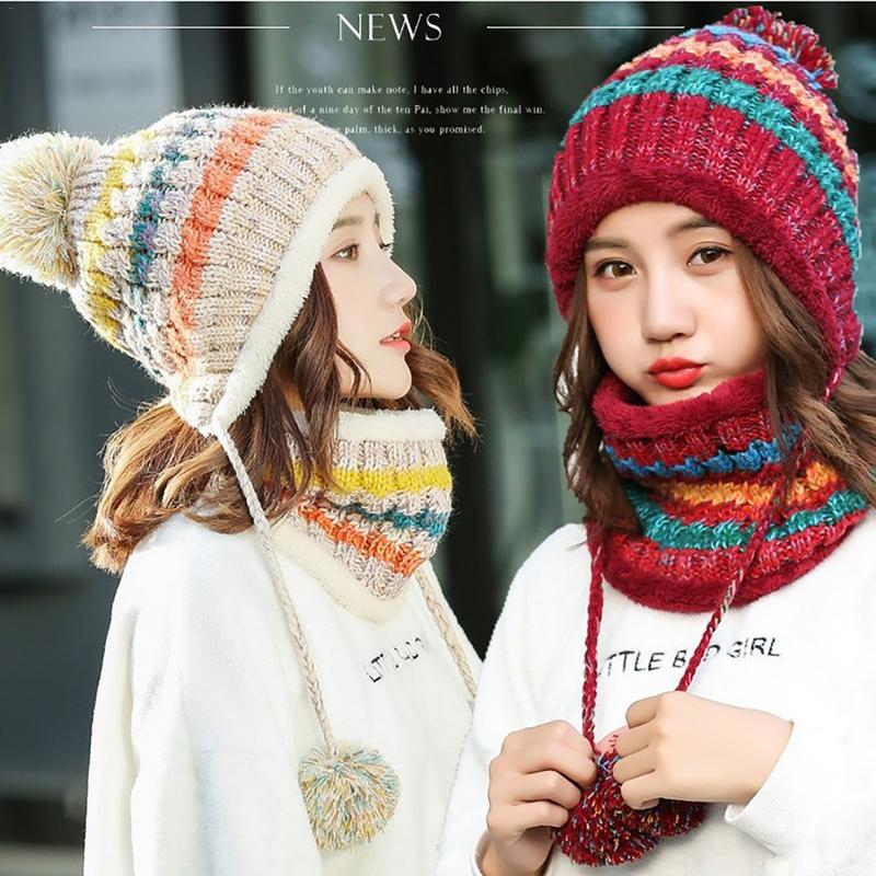 New Women Hat&Scarf 2 Pieces Patchwork Color Winter Hat Women Pompoms Skullies Knitted Hat Caps Neck Warmer