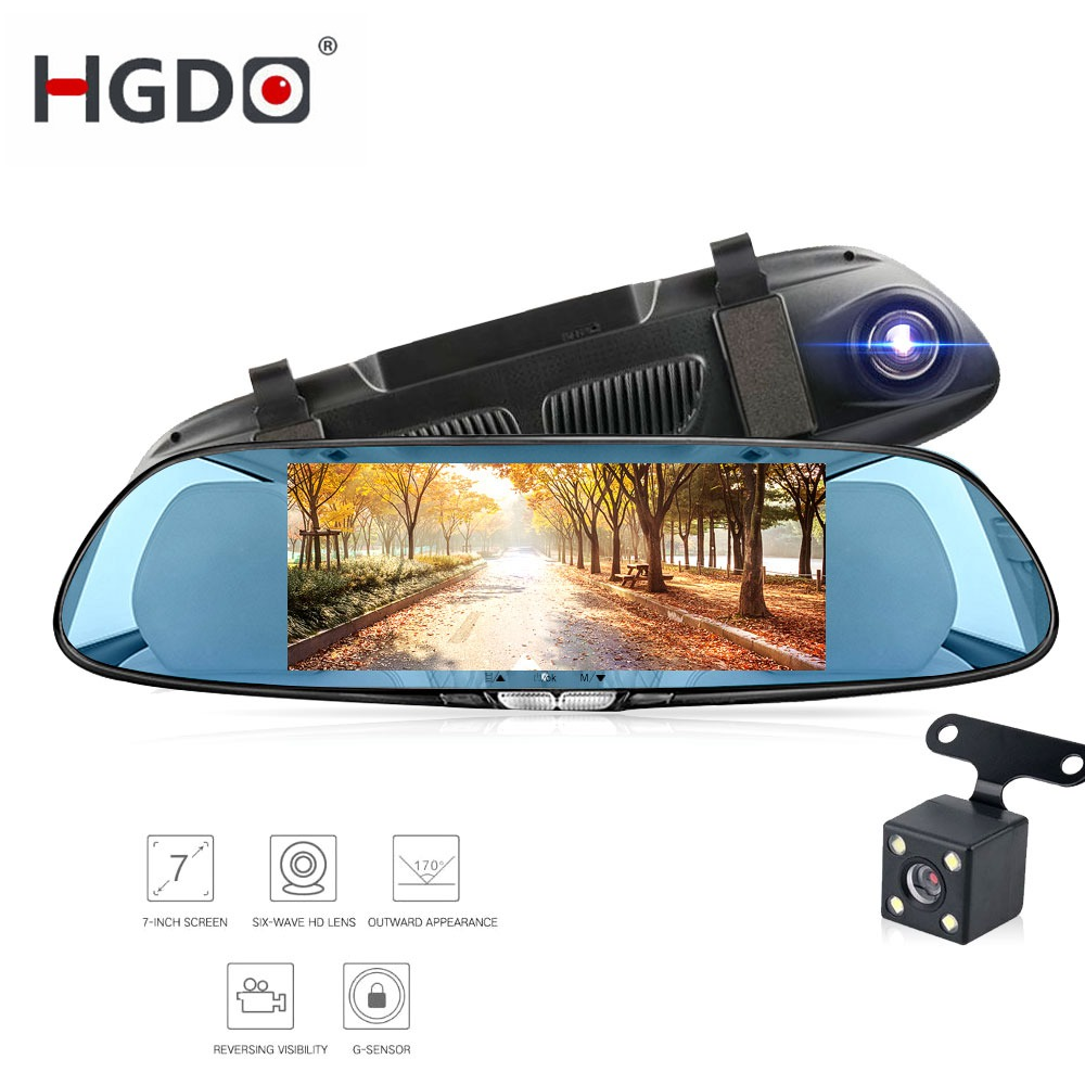 HGDO Car Dvr Camera Recorder Registrator Rearview-Mirror Dash-Cam Touch-Screen Dual-Lens