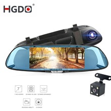лучшая цена HGDO  car dvr camera 7.0 inch Touch Screen rearview mirror dvrs dual lens FHD 1080P recorder night vision dash cam registrator