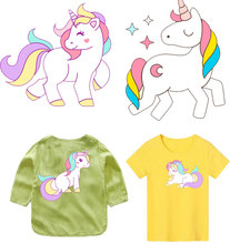 Cute Unicorn  Cartoon Animal Iron on Patches Decor Clothes Sticker DIY Letter Thermal Heat Transfer for Kids T-shirt PVC Print E