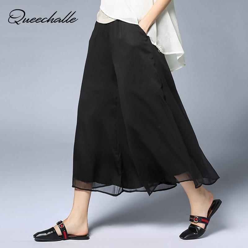 XL XXL XXXL 4XL Plus Size Chiffon Trousers Black White Casual   Wide     Leg     Pants   Women Solid Elastic Waist Loose Ankle-length   Pants