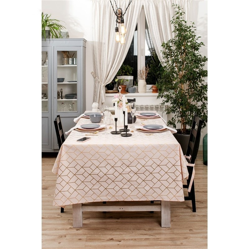 Tablecloth Ethel Grid, 150 × 220 cm, репс, pl. 130g/m², 100% cotton ofk 130g