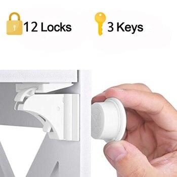 12 cerraduras + 3 llaves de bloqueo magnético para niños 15 en 1 seguridad para bebés, cerradura para puerta, cajón para niños armario Invisible cerraduras