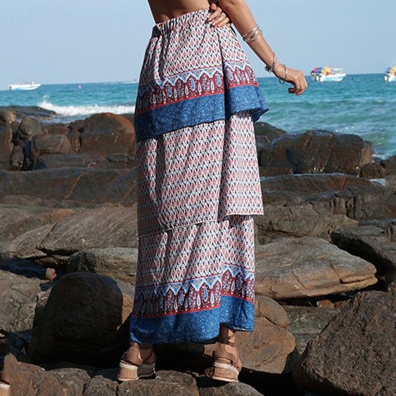 Boho Maxi Skirt Women Elegant Vintage Chiffon Chic Print Stylish Casual Summer 2019 Hot Beach Holiday Long Pleated Skirts Female