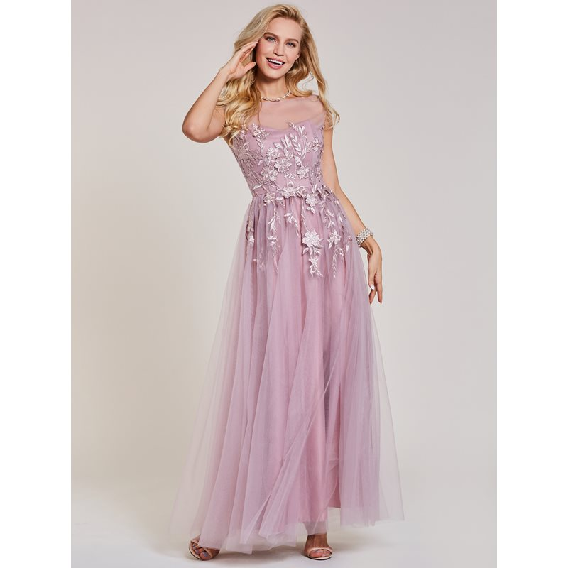 Dressv long prom dress pink bateau neck cap sleeves floor length a line dresses cheap women appliques evening formal prom gown