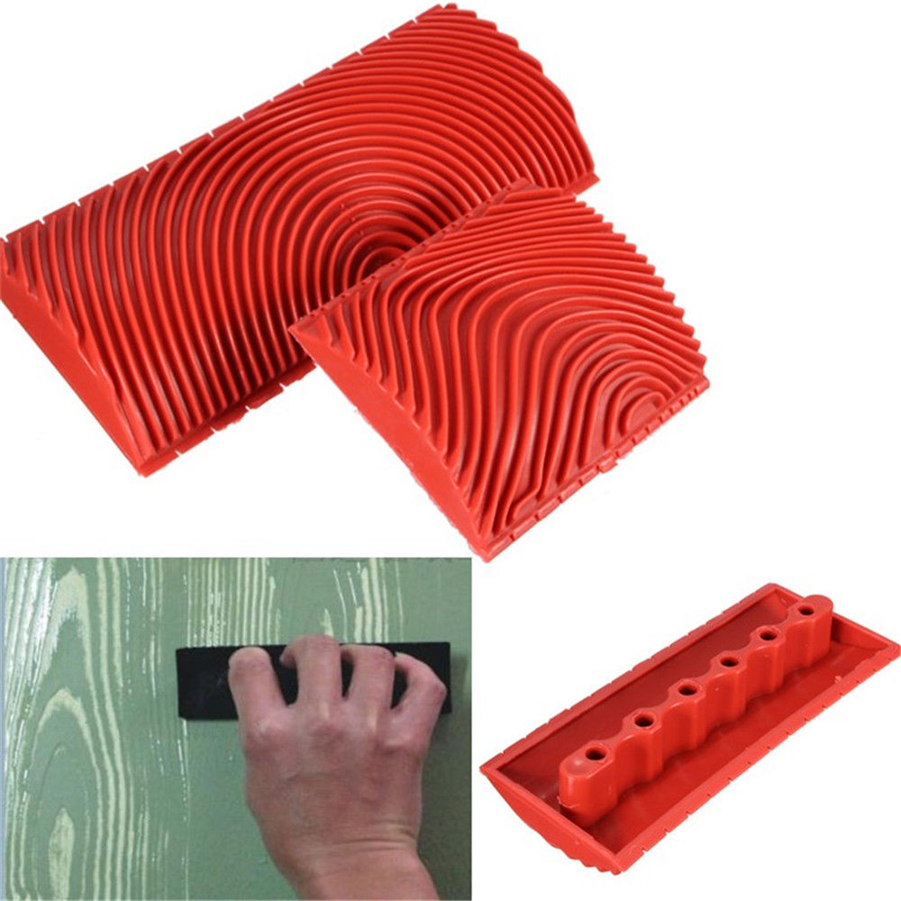 2pcs/set Red Rubber Wood Grain Paint Roller DIY Graining Painting Tool Wood Grain Pattern Wall Painting Roller Home Tool DA