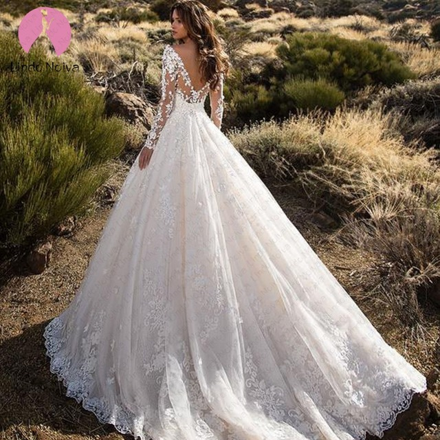 Vestido De Noiva 2019 Sexy Long Sleeve Lace A Line Wedding Dress New Scoop Robe De Mariage Illusion Top Bride Gown