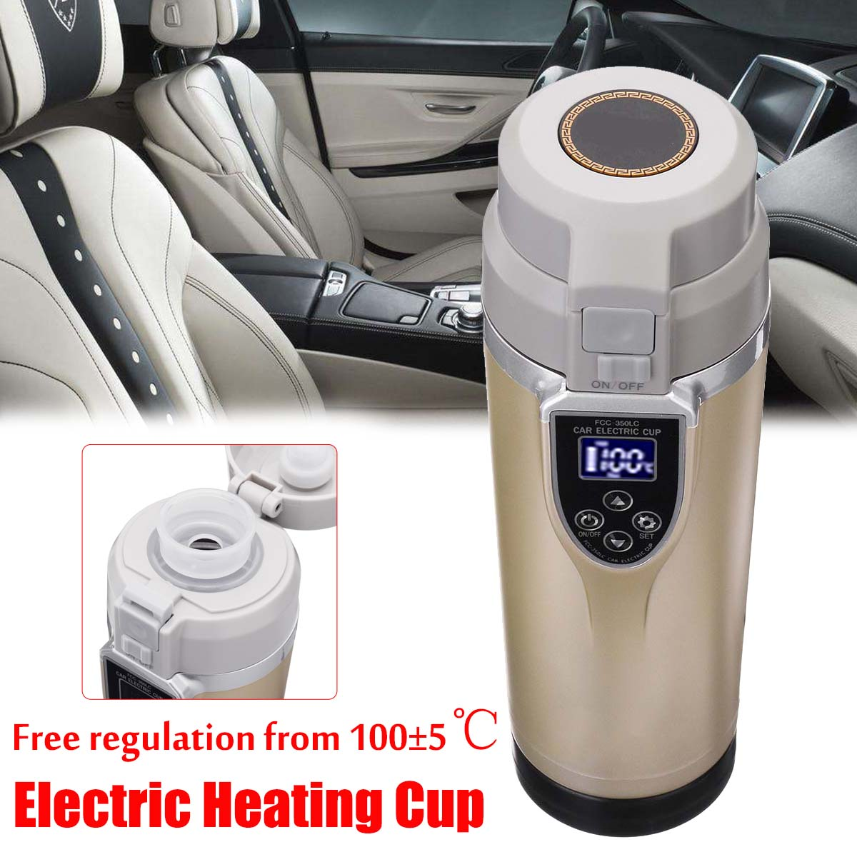 12V/24V 350ml Intelligent Vehicle Heating Cup Car Auto Electric Heating Cup Adjustable Temperature Electric Kettle Boiling Mug