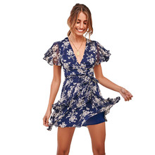 цена на Floral Print Dress Women 2019 Summer Mini Boho Sexy Deep V-neck Party Dresses Ladies Short Sleeve Chiffon Dress GRNSHTS