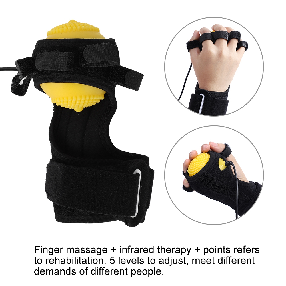 New Electric Hand Massage Ball Infrared Therapy Hot Compress Stroke Hemiplegia Finger Rehabilitation Recovery Training Machine