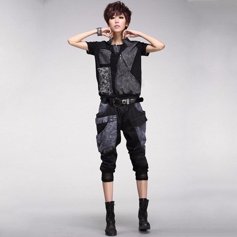 ماكس اللولو جديد 2019 الأزياء الكورية نمط السيدات الصيف بلوزات وسراويل إمرأة الدنيم قطعتين مجموعة الإناث الدانتيل الملابس مثير وتتسابق-في مجموعات نسائية من ملابس نسائية على  مجموعة 3