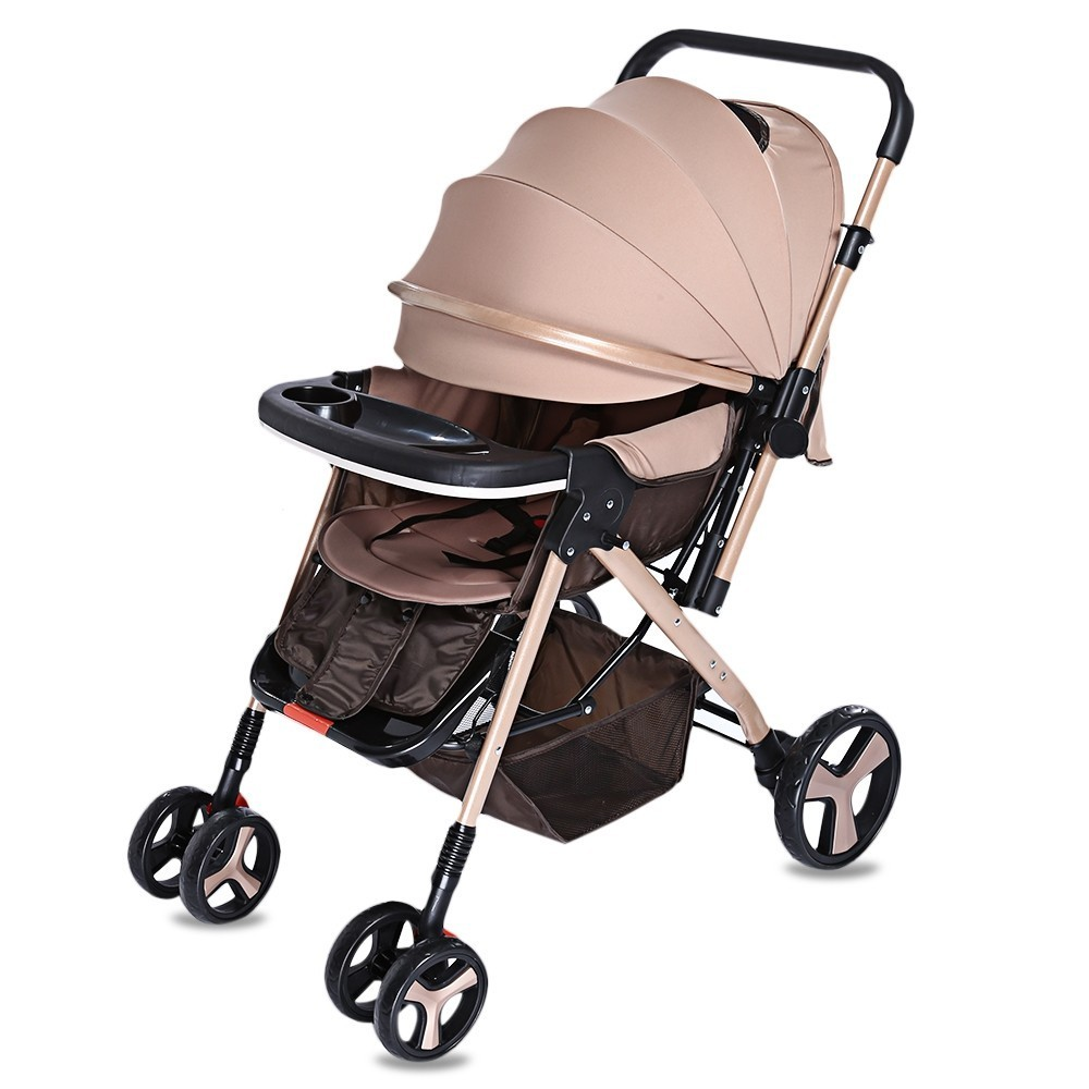 Folding Baby Stroller Light Weight Two-sided Child Baby Cart With Brake System Universal Casters With Storage Basket StrollersFolding Baby Stroller Light Weight Two-sided Child Baby Cart With Brake System Universal Casters With Storage Basket Strollers