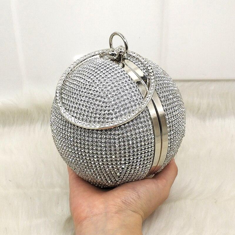 Diamanti Di Sera Borsa Donne Clutch Sacchetto Sfera Messaggero silver Rotonda Delle Da Partito Del Sposa Lusso Cristallo Clutch Borse gold Clutch Progettista Spalla Modo Black vYrXxY