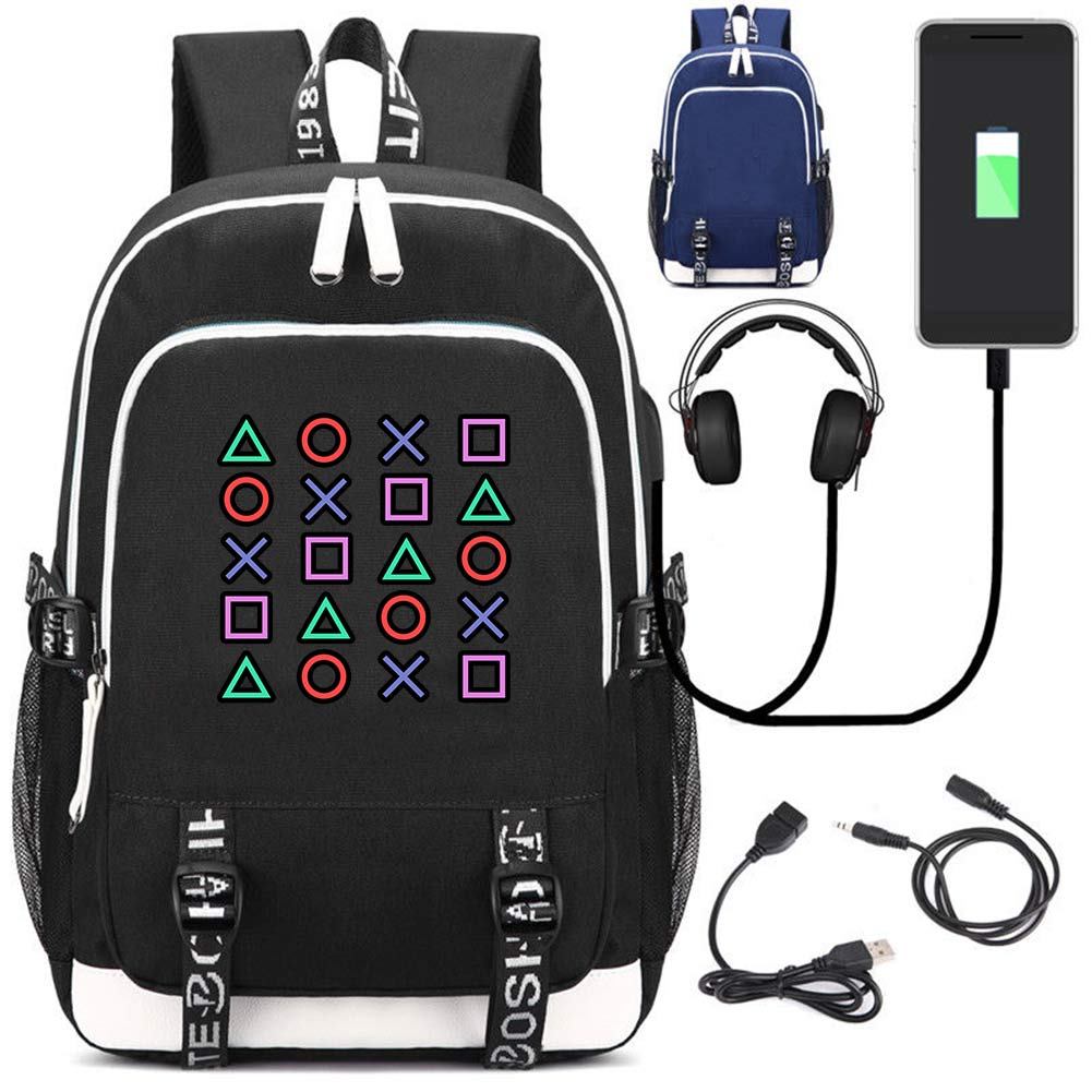 PlayStation PS4 Game Handheld Console Handle Symbol Pattern Multifunction USB Charging Notebook Backpack Laptop Bag School Bag