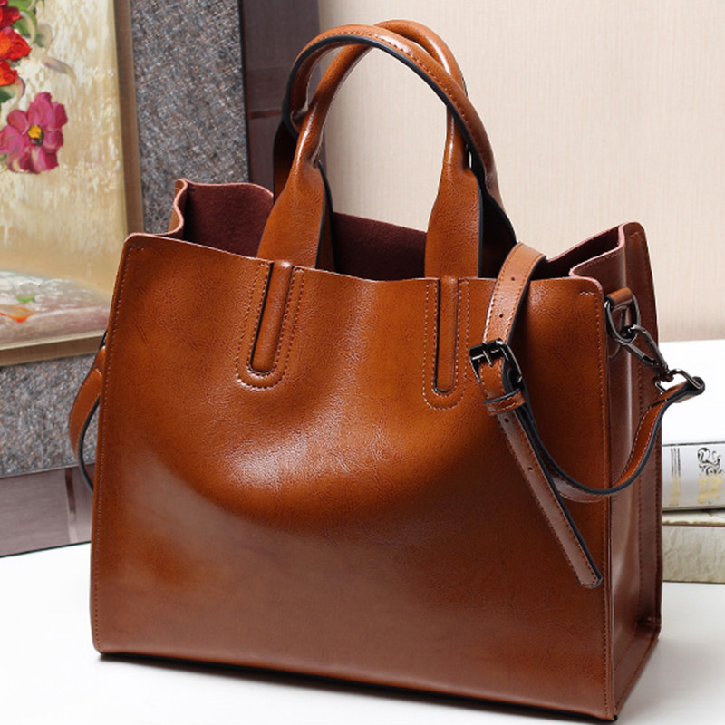 Designer Genuine Leather Handbag Soft Oil Wax Cow Leather Tote Bag