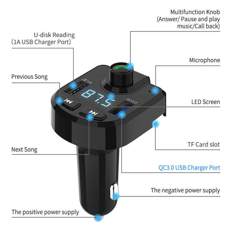 Bộ Phát FM Xe Hơi Âm Thanh QC 3.0 Nhanh 2 Cổng USB Sạc Xe Hơi Bluetooth Bộ Tay Cầm Không Dây Thẻ TF U Đĩa MP3 người Chơi