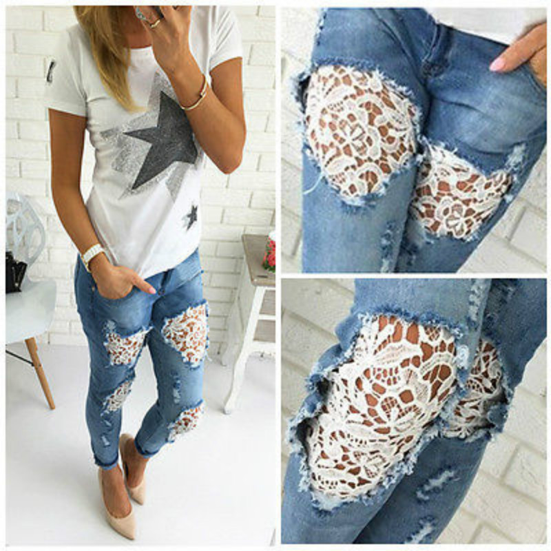 2019 Spring Women's Lace Stitching Denim Sexy Ripped Jeans With Holes Jean Crochet  Trousers Summer Destroyed Women Pants Korean