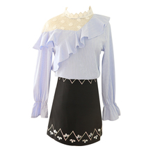 Korean Fashion Embroidered 2019 Spring New Western Style Suits Skirt Splicing Lace Long Sleeve Top Outfit Brand Design Vestidos