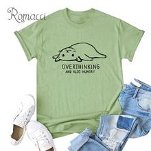 Romacci Womens Oversized T-shirt Contrast Cat Letter Print Plus Size Cotton T Shirt O Neck Short Sleeve Lovely Casual Summer Top contrast letter print pocket camo t shirt