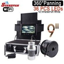 SYANSPAN беспроводной Wi Fi рыболокаторы 9 «ЖК дисплей Мониторы видео камера 1000TVL подводный Ice Рыбалка finder 36 светодиодов 360 градусов вращающийся