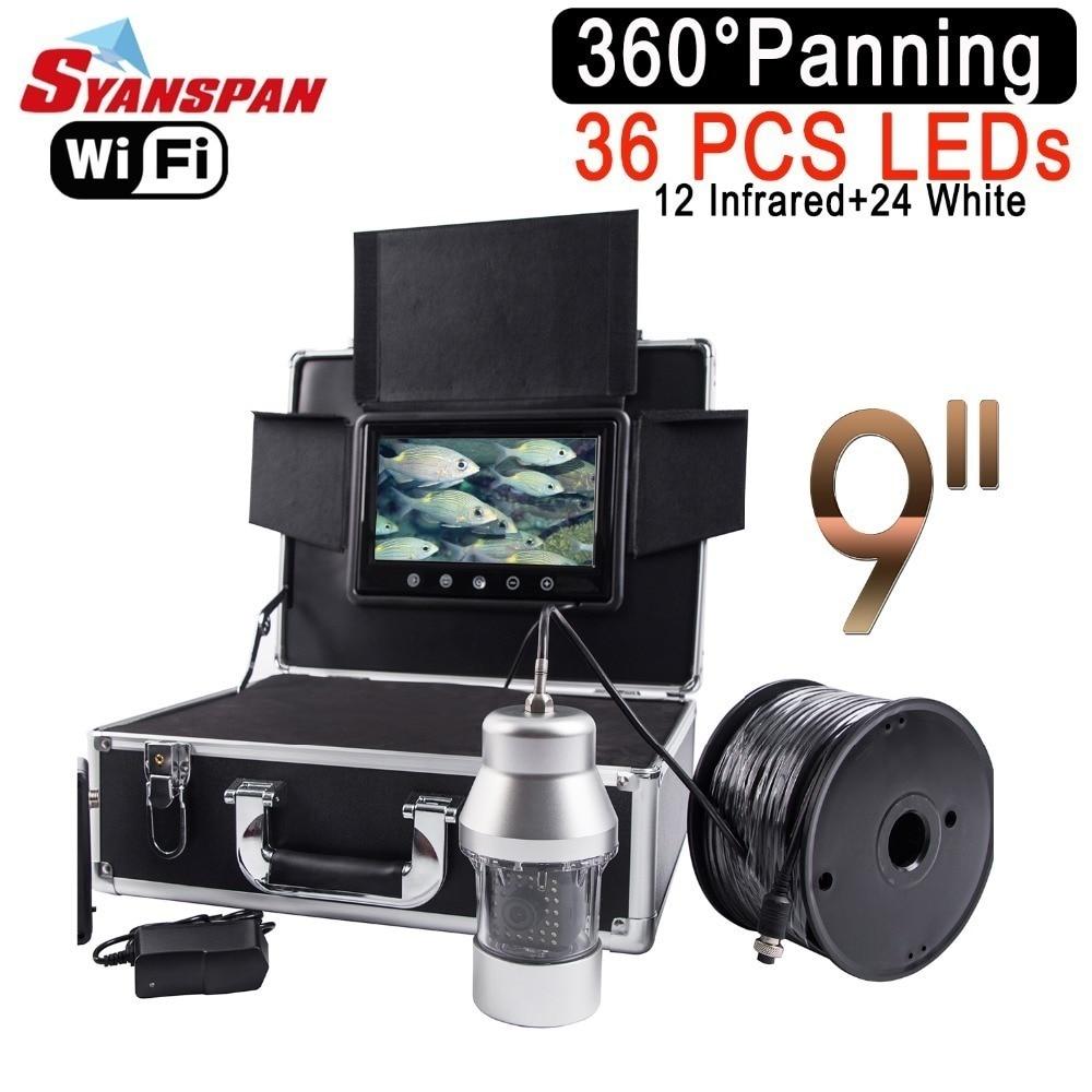 SYANSPAN sans fil WiFi détecteur de poisson 9 LCD moniteur vidéo caméra 1000TVL sous-marine glace pêche Finder 36 LEDs 360 degrés rotation