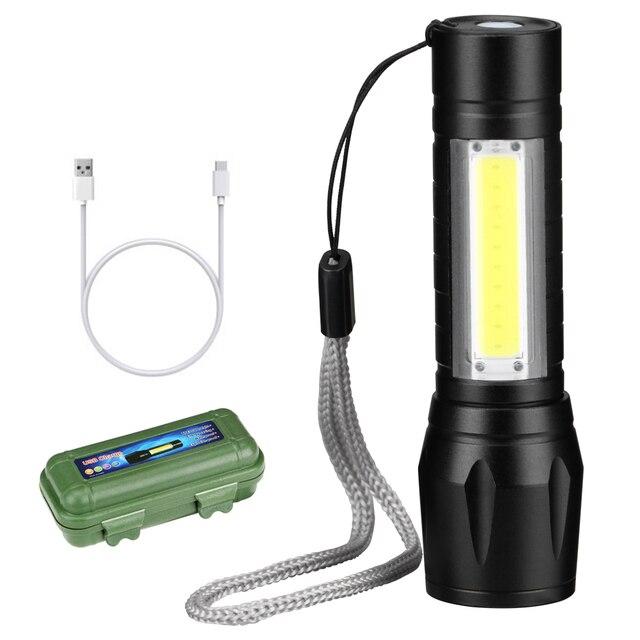 強力な cob + xpe led 懐中電灯防水ポータブルキャンプランタンズーム可能なフォーカストーチライト自己防衛戦術的な懐中電灯