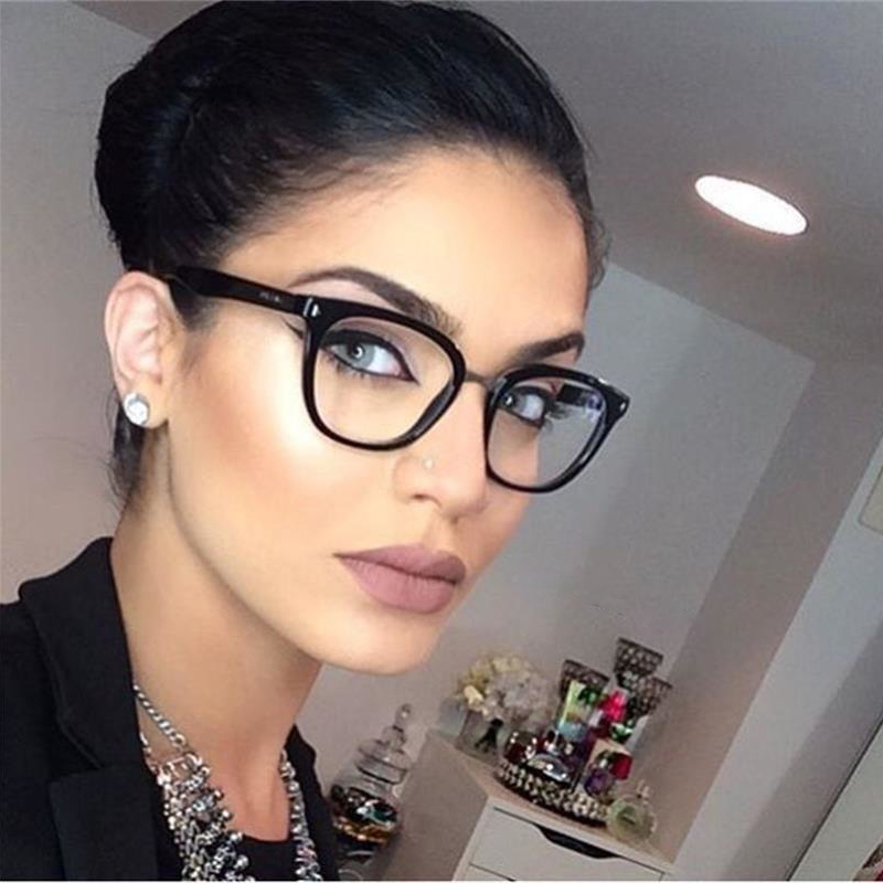 Womens Sexy Vintage UV400 Spectacle Square Glasses Frame Computer Gaming Clear Lens Anti-UV Nerd Black Ladies Rivet Eyeglasses image
