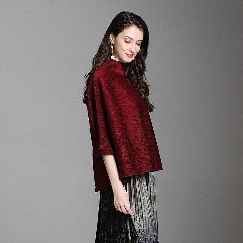 New Female's Black Sleeve Oversize Quarter Lanmrem Fashion Stand wine Vestido Loose Tops Pleated Yf235 shirt Irregular 2019 Red Three Collar T 5wPUw8
