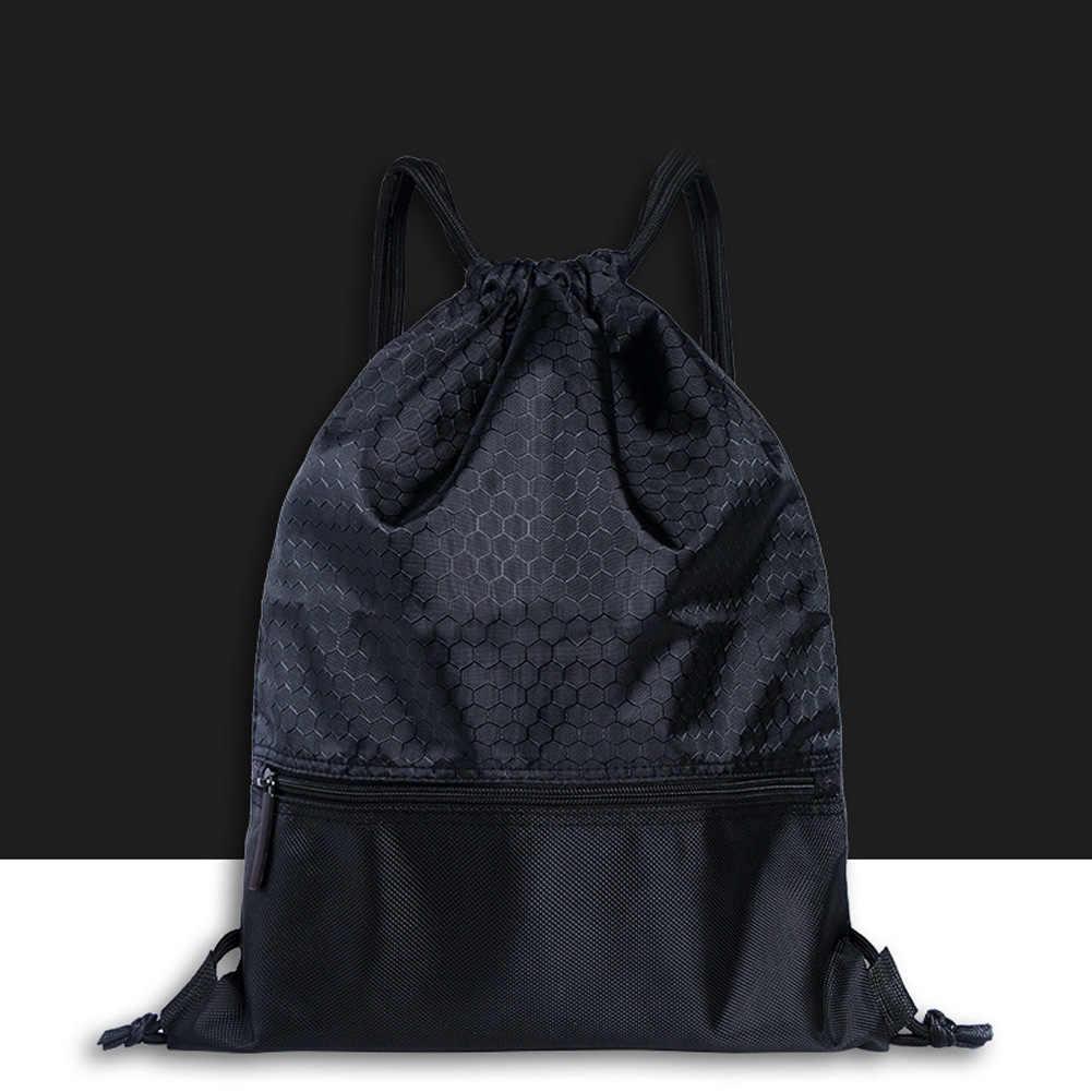Mochila deportiva de nailon práctica al aire libre de moda para hombres y mujeres sólida de gran capacidad de viaje con cordón de bloqueo Anti-salpicaduras