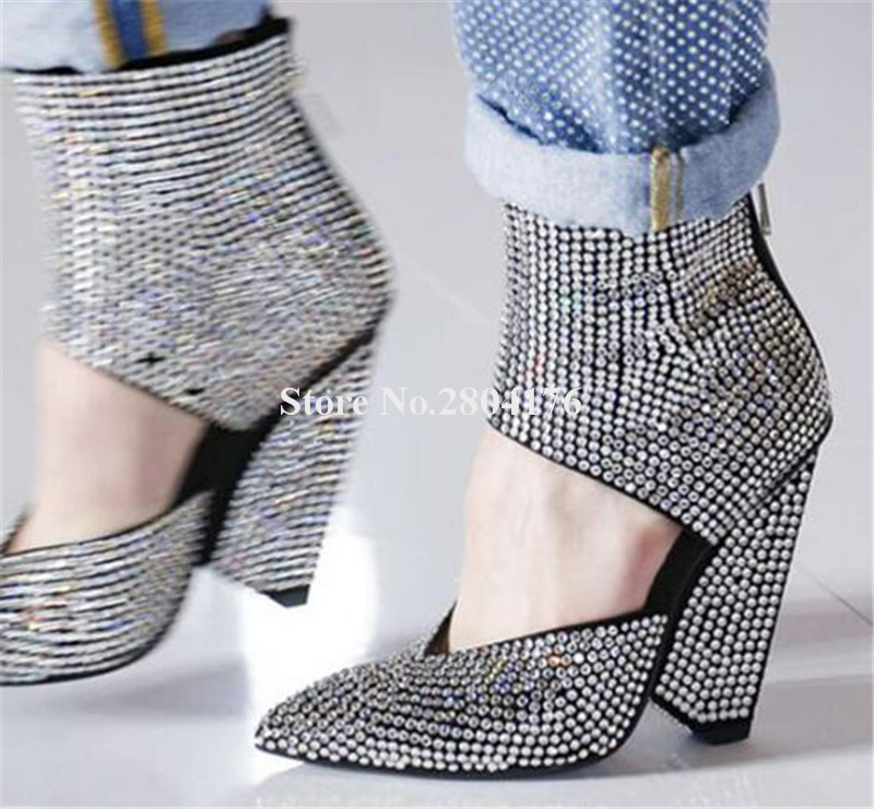 Womens Rhinestone Pointed Toe Dressy Ankle Boots Inside Zip Up Block High Heel Short Booties with Bow