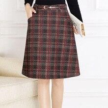 Shuchan Plaid Womens Skirt Woolen Blend Winter Warm Skirts High Waist A-line Sashes Knee-length Retro 7621