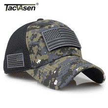 TACVASEN Tactical Camouflage Baseball Caps Men Summer Mesh Military Army Caps Constructed Trucker Cap Hats With USA Flag Patches(China)