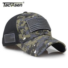 TACVASEN Tactical Camouflage czapki baseballowe mężczyźni Summer Mesh czapki wojskowe armii zbudowany czapka typu Trucker czapki z USA naszywki flagi