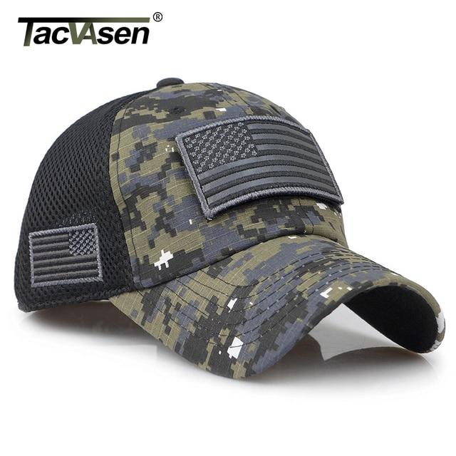 TACVASEN Taktische Camouflage Baseball Caps Männer Sommer Mesh Military Armee Caps Gebaut Trucker Cap Hüte Mit USA Flagge Patches