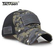 TACVASEN التكتيكية التمويه قبعات البيسبول الرجال الصيف شبكة قبعات الجيش العسكرية شيدت قبعات سائق الشاحنة القبعات مع العلم USA بقع