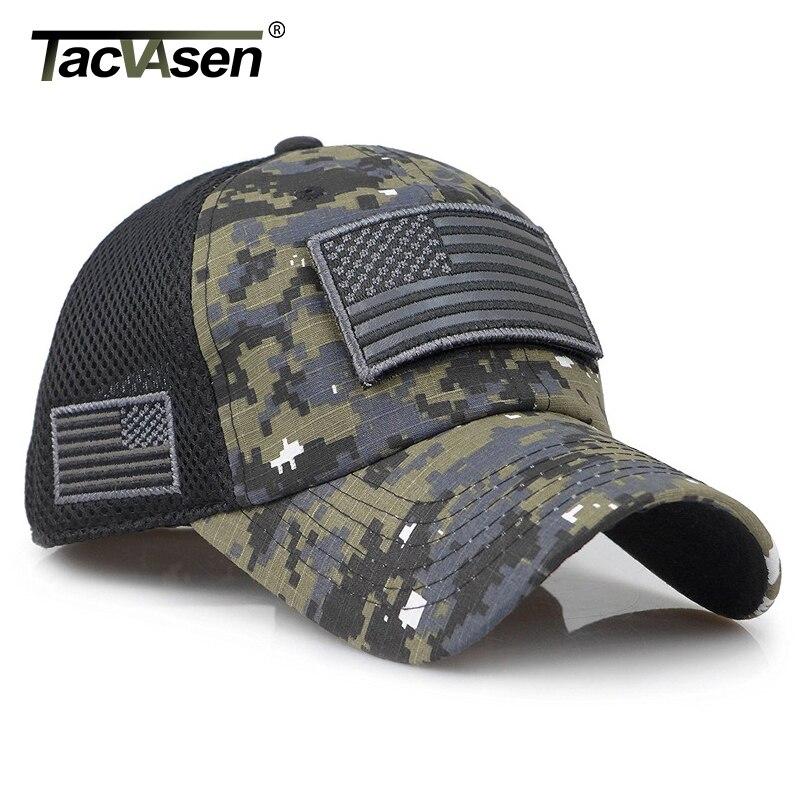 Tacvasen camuflagem tático bonés de beisebol dos homens verão malha militar do exército bonés construídos boné de camionista chapéus com eua remendos da bandeiraBonés de beisebol   -