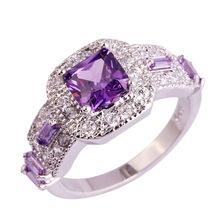 18K Dold Silver Princess Cut Purple sapphire rings Square Shape for Women Jewelry Engagement Ring Plus Size amethyst gemstones
