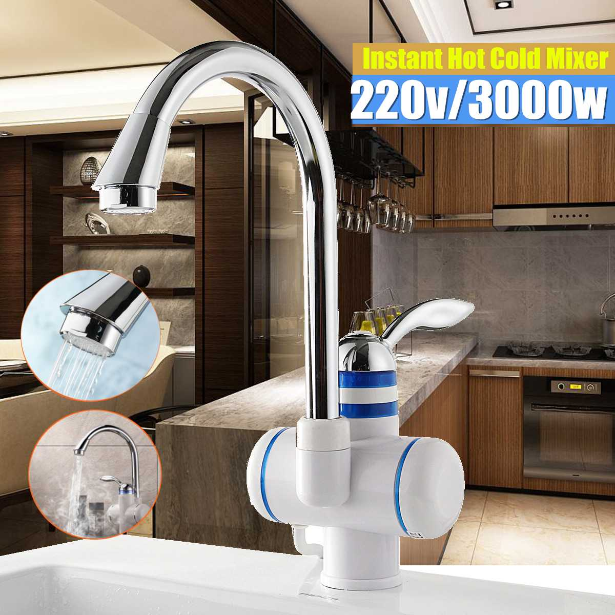 Tankless Instant Electric Water Heater Faucet Kitchen Hot
