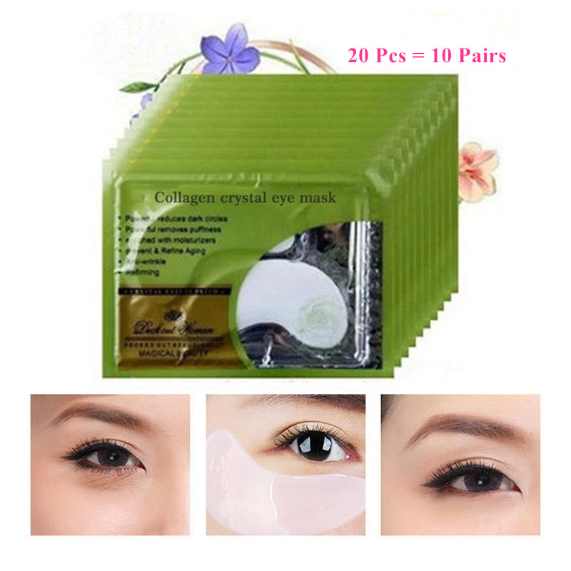 20Pcs=10Pairs Beauty Korean Cosmetics Deck Out Women Crystal Collagen Patches For Eye Remove Black Eye Mask Skin Care